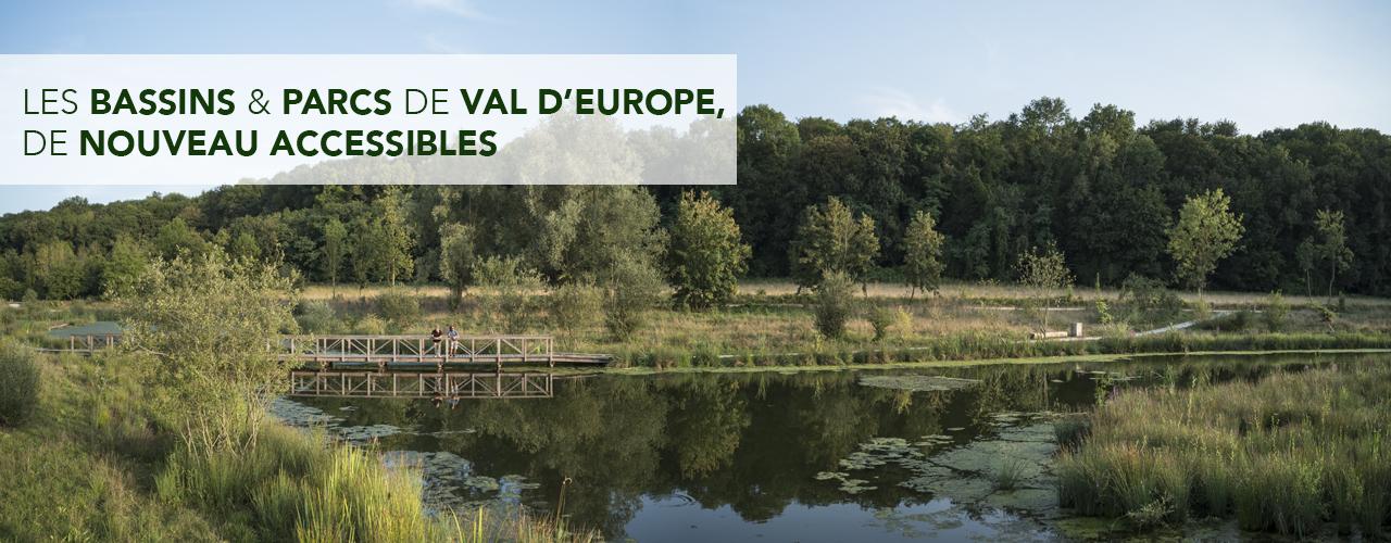 Les bassins et parcs de Val d'Europe, de nouveau accessibles