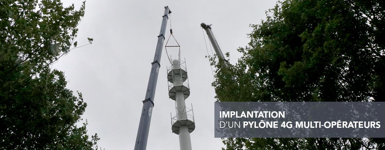 Implantation d'un pylône 4G multi-opérateurs