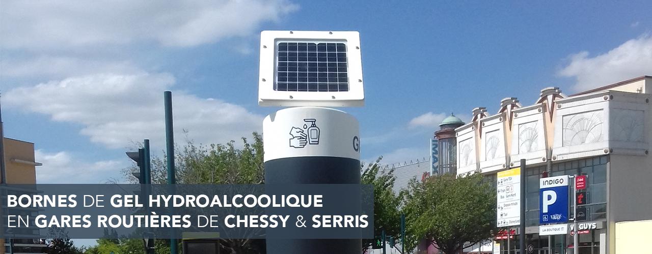 Des bornes de gel hydroalcoolique installées en gares routières de Chessy et Serris