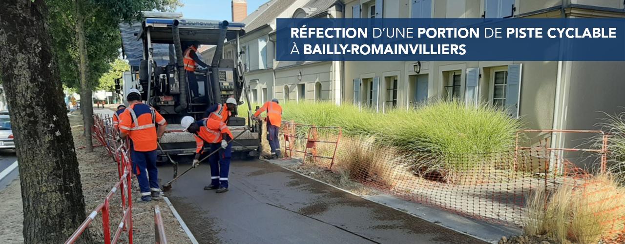 Réfection d'une portion de piste cyclable à Bailly-Romainvilliers