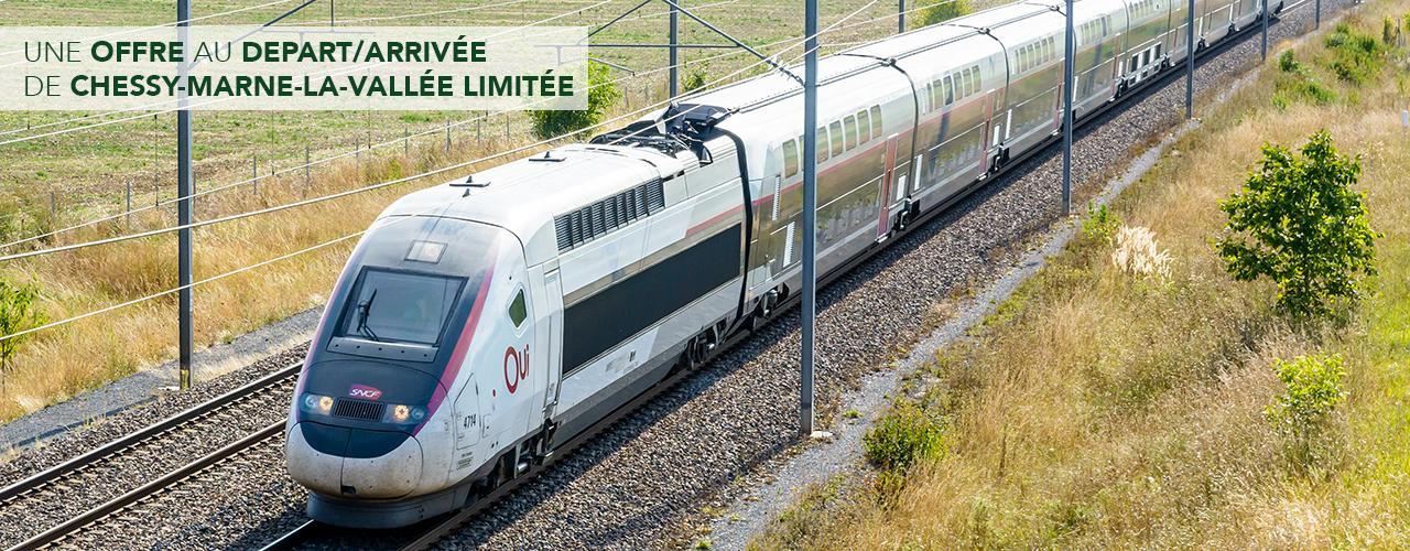 Une offre au départ/arrivée de Chessy-Marne-la-Vallée limitée
