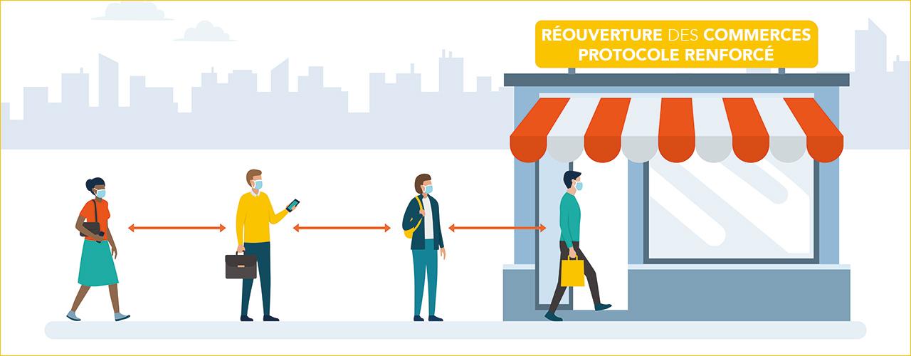 Réouverture des commerces, un protocole renforcé