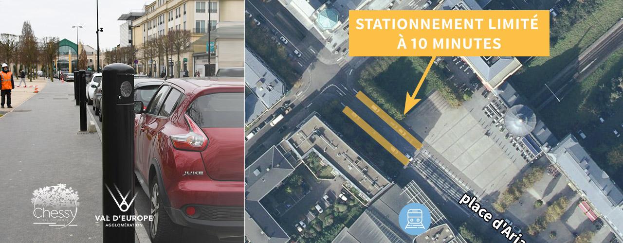 Des bornes arrêt minute pour gérer le stationnement de courte durée place d'Ariane à Chessy